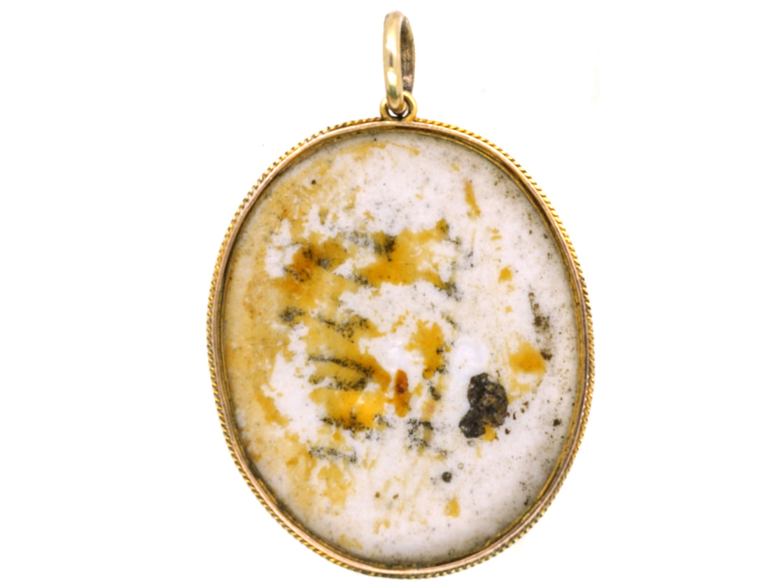 Victorian 9ct Gold & Porcelain Miniature Pendant of Boy with Hat