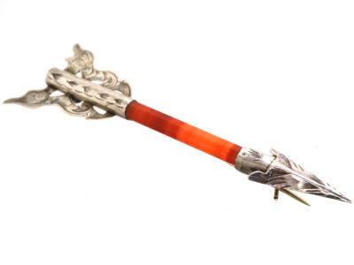 Scottish Silver & Carnelian Arrow Brooch