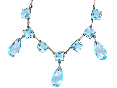 Art Deco Silver & Blue Paste Three Drops Necklace