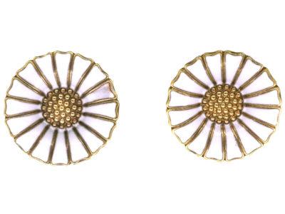 Silver Gilt & White Enamel Daisy Earrings