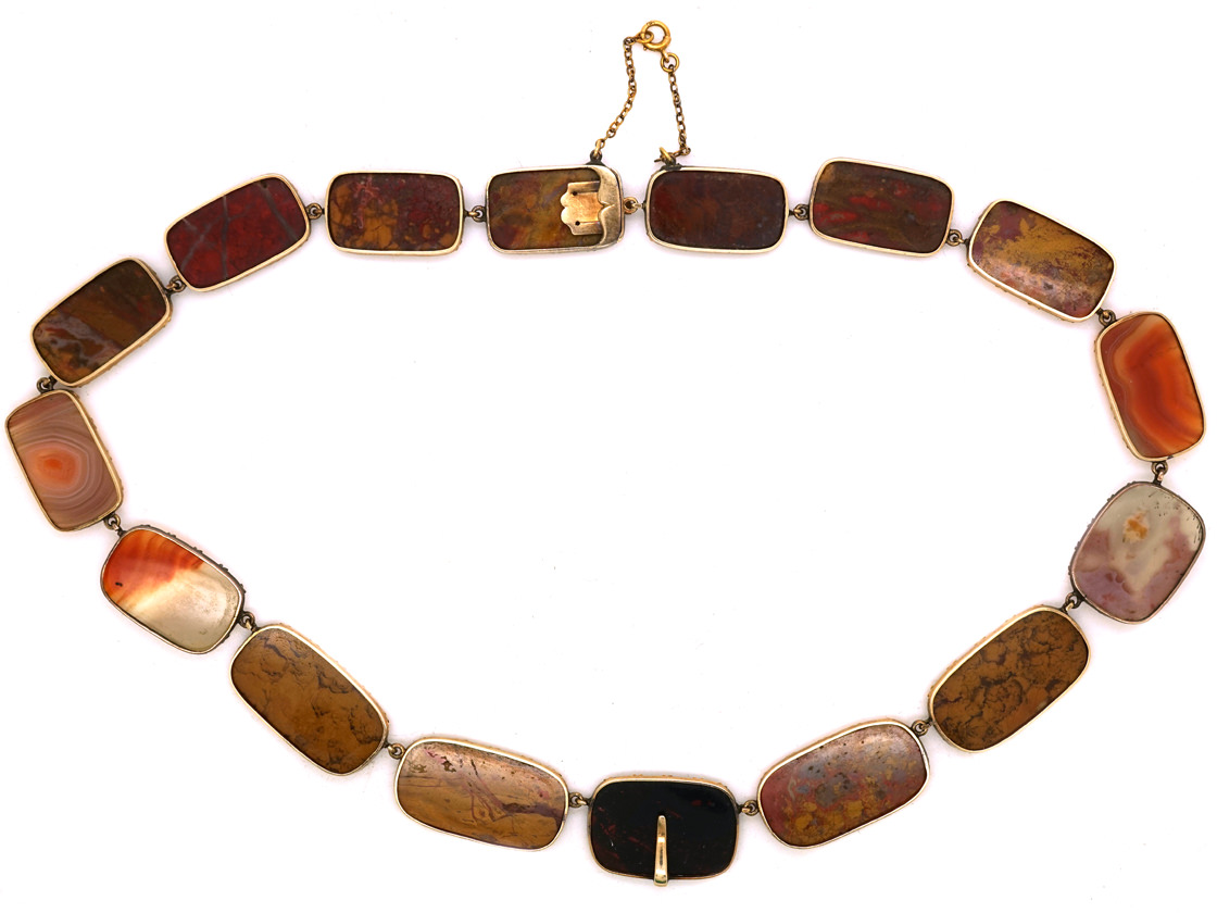 Georgian 15ct Gold & Agate Necklace