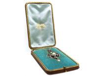 Edwardian Diamond & Natural Pearl Pendant on Chain in Original Case