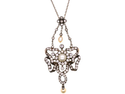 Edwardian Diamond & Natural Pearl Pendant on Chain in Original Case