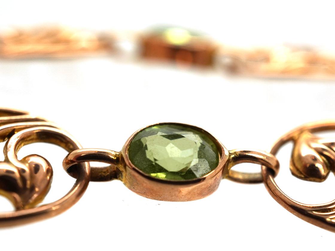 Art Nouveau 9ct Gold & Peridot Bracelet