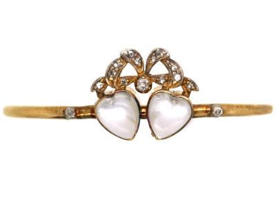 Edwardian 15ct Gold, Moonstone & Diamond Double Heart Bangle