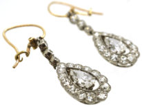 Edwardian Platinum, Pear Shaped Diamond Drop Earrings