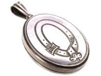 Victorian Oval Silver Locket with Garter Motif