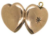 Edwardian 9ct Back & Front Heart Shaped Locket set with a Rose Diamond