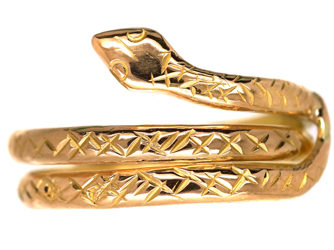 French 18ct Gold Snake Ring