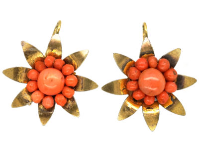 Victorian Silver Gilt & Coral Flower Earrings