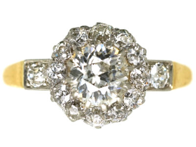 Edwardian 18ct Gold & Diamond Cluster Ring