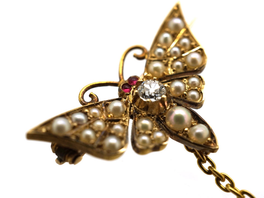 Pair of Edwardian 15ct Gold Butterfly Brooches set with Natural Split Pearls, Ruby & Diamond