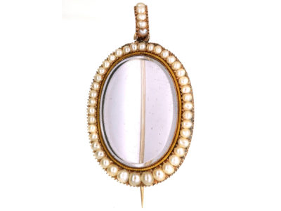 Georgian 9ct Gold & Natural Pearl Brooch / Pendant