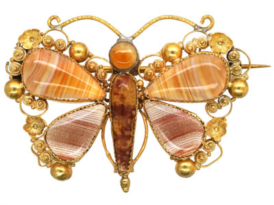 Regency 18ct Gold & Agate Butterfly Brooch