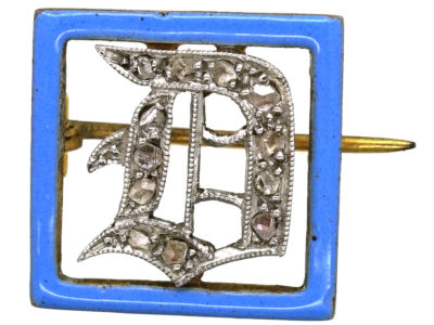"Art Deco 15ct Gold, Platinum, Rose Diamond & Blue Enamel ""D"" Brooch"