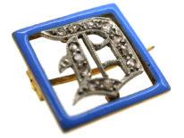 Art Deco 15ct Gold, Platinum, Rose Diamond & Blue Enamel