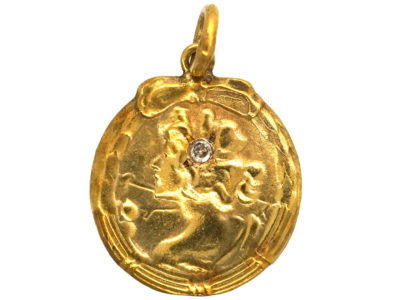 Art Nouveau 14ct Gold Pendant of a Lady with a Diamond in her Hair