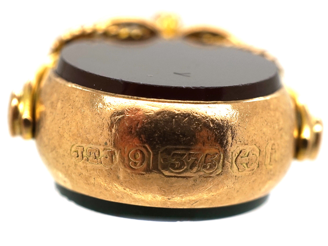 Edwardian 9ct Gold Two Sided Swivel Seal
