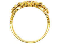 18ct Gold, Ruby & Diamond Cluster Ring