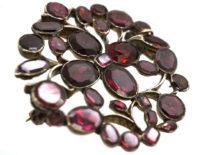 Georgian Silver & Flat Cut Almandine Garnet Flower Brooch/ Pendant