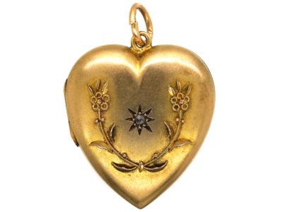 Edwardian Large 15ct Gold Heart Shaped Locket set with a Diamond