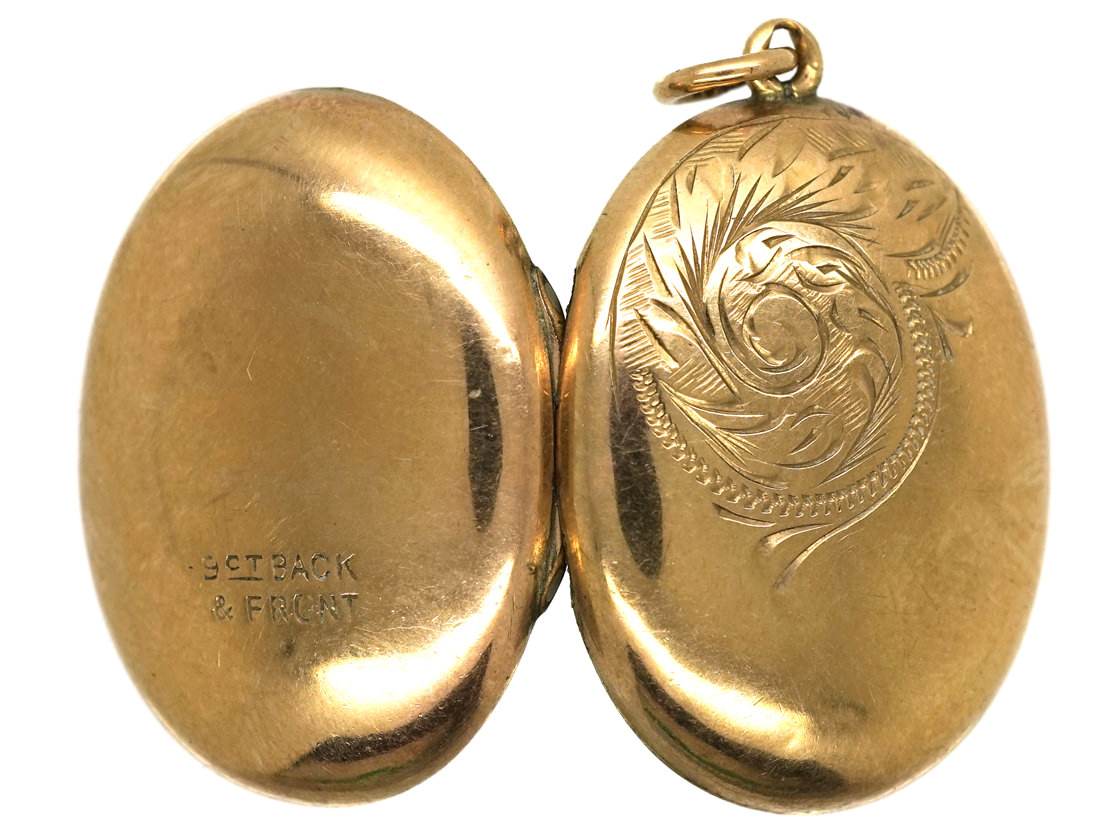 Edwardian 9ct Gold Back & Front Oval Locket