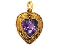 Edwardian 15ct Gold & Amethyst Heart Shaped Pendant
