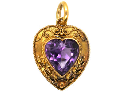 Edwardian 15ct Gold & Amethyst Heart Shaped Pendant