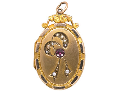Edwardian 9ct Back & Front Oval Locket with Bow Motif