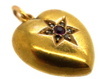 Edwardian Heart Shaped Pendant set with Ruby & Rose Diamonds in a Star Shape