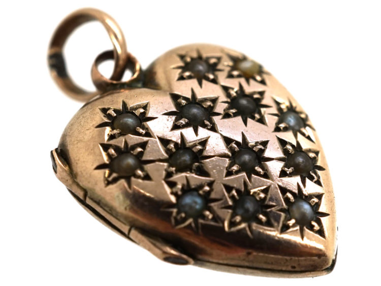 Edwardian 9ct Gold Heart Shaped Locket Studded With Natural Split Pearls