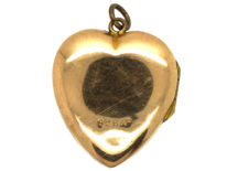 Edwardian 9ct Back & Front Heart Shaped Locket with Swallow Motif