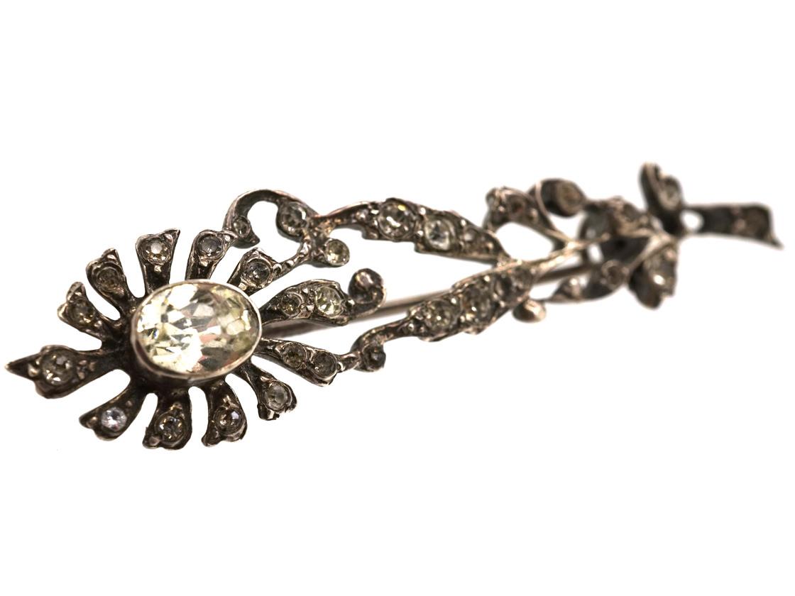 Edwardian Silver & Paste Flower Brooch