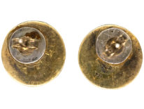 Silver Two Colour 1970s Round Earrings