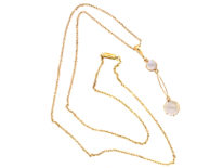 Edwardian 15ct Gold Moonstone Pendant on 9ct Gold Chain