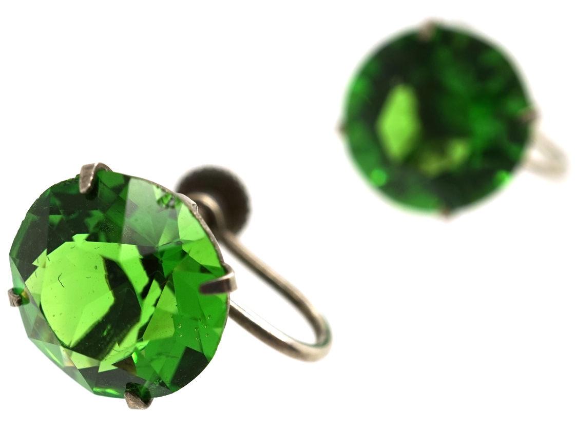 Silver & Green Paste Earrings