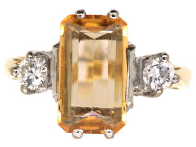18ct Gold, Rectangular Topaz & Diamond Ring