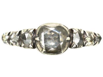Georgian 18ct Gold, Silver & Rose Diamond Ring