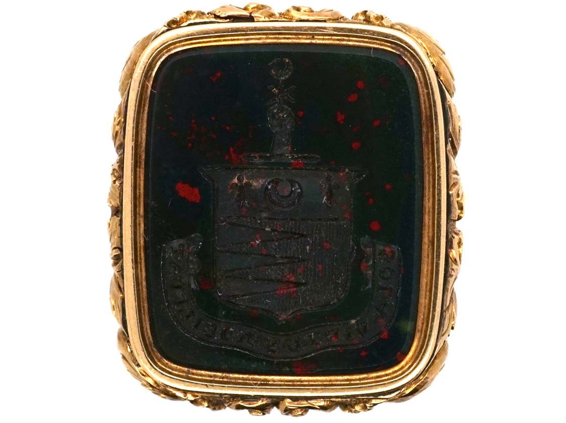 Large Georgian Seal with Bloodstone Crest Intaglio for the Henderson Clan