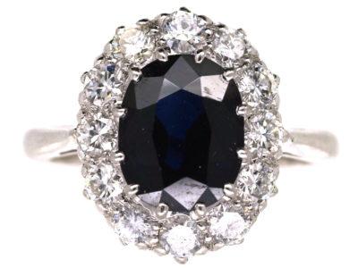 18ct White Gold & Platinum Oval Sapphire & Diamond Cluster Ring