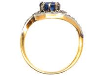 Belle Epoque 18ct Gold, Sapphire & Rose Diamond Swirl Ring