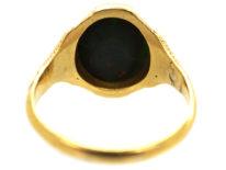Victorian 18ct Gold & Bloodstone Crest Intaglio Signet Ring