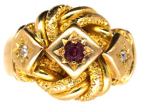 18ct Lover's Knot Ring set with a Ruby & Two Diamonds