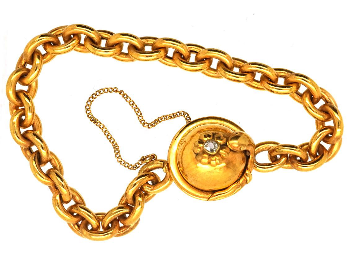 Victorian 15ct Gold Bracelet with Diamond Set Snake Clasp