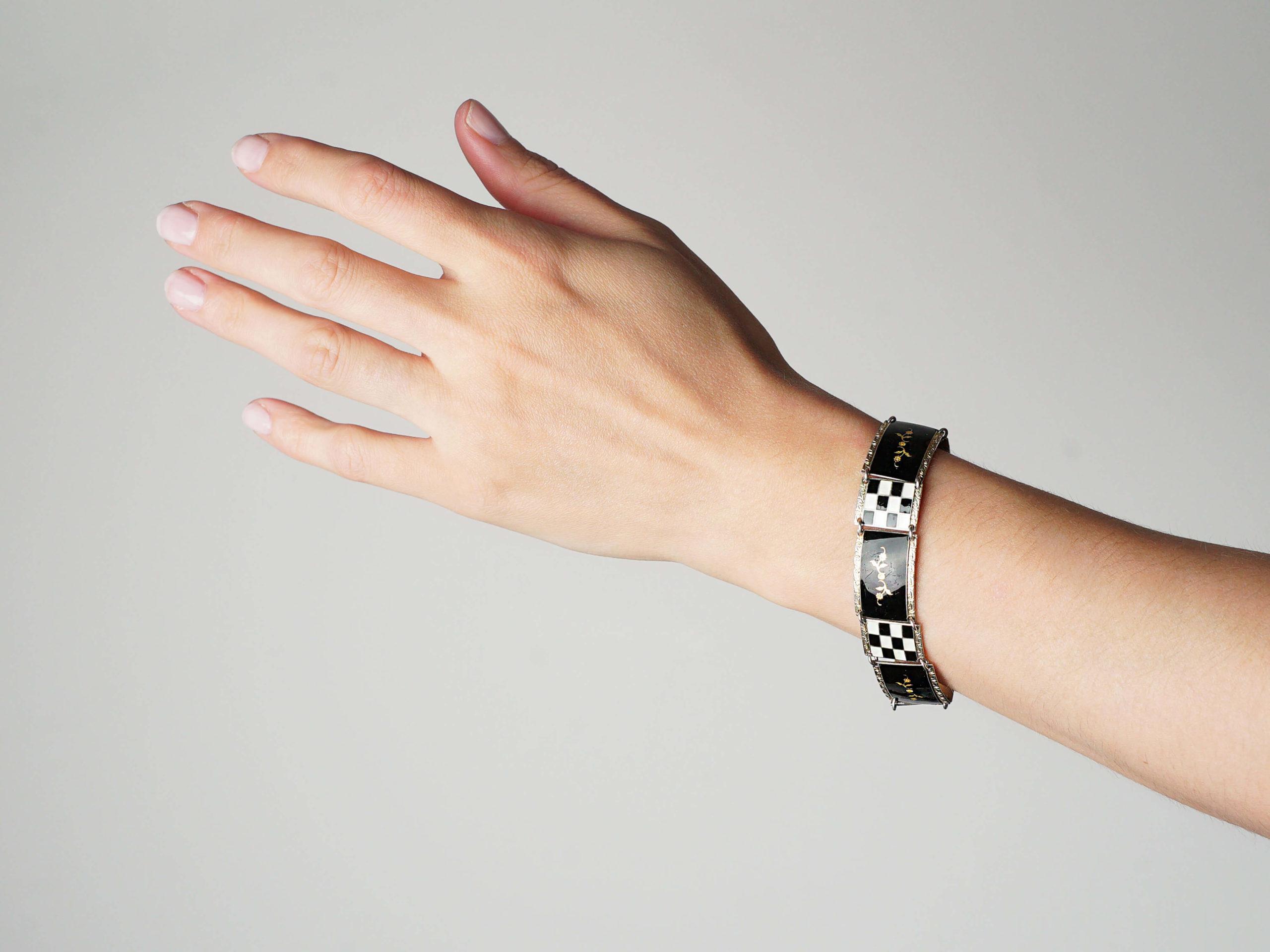 Norwegian Silver Gilt & White & Black Enamel Bracelet