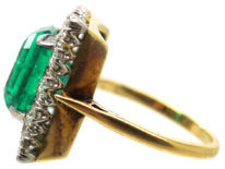 Large 18ct Gold, Emerald & Diamond Rectangular Ring