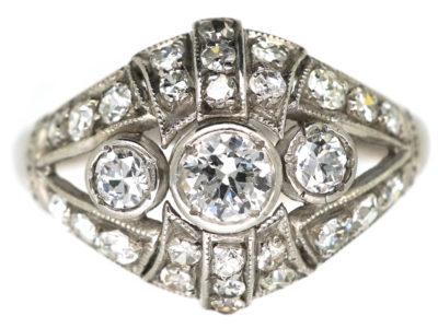 Art Deco 18ct White Gold & Diamond Bombe Style Ring