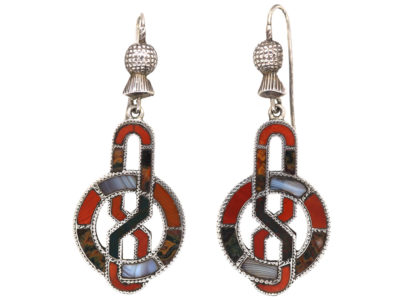 Victorian Scottish Silver & Agate Drop Earrings