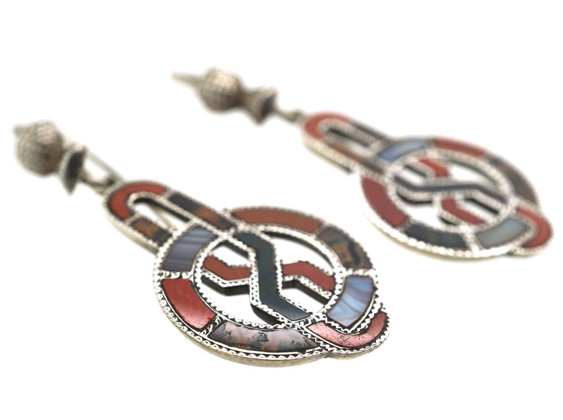 Victorian Scottish Silver & Agate Drop Earrings