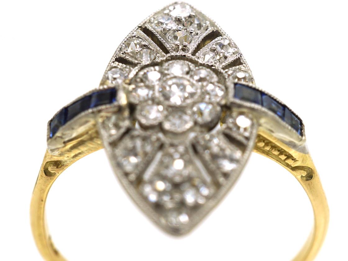 Edwardian 18ct Gold & Platinum, Sapphire & Diamond Marquise Ring